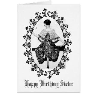 Tarjeta Hermana imponente del cumpleaños del cordón del
