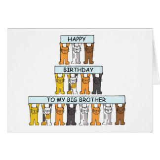 Tarjeta Hermano mayor del feliz cumpleaños de los gatos