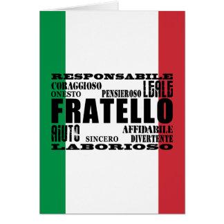 Tarjeta Hermanos italianos: Calidades