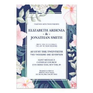 Tarjeta Hibisco tropical del rosa de la marina de guerra