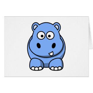 Tarjeta Hipopótamo azul lindo