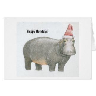 Tarjeta Hipopótamo de Santa