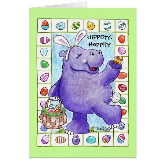 Tarjeta Hipopótamo del conejito de pascua