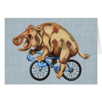 Tarjeta Hipopótamo en una bicicleta
