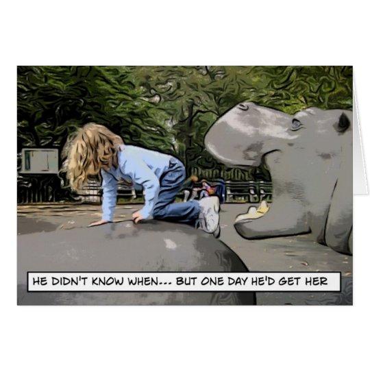 Tarjeta hipopótamo hambriento - un día