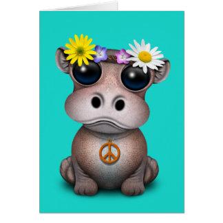Tarjeta Hippie lindo del hipopótamo del bebé