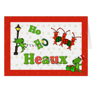 Tarjeta Ho Ho Navidad de los cocodrilos y de los cangrejos