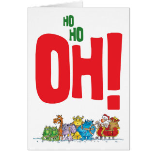 Tarjeta Ho Ho oh Santa (blanco)