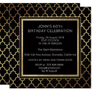 Tarjeta Hoja de oro del negro de la fiesta de cumpleaños