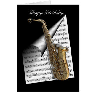 Tarjeta Hoja del saxofón y de música