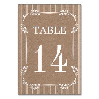 Tarjeta Hojas blancas, número de la tabla del boda de