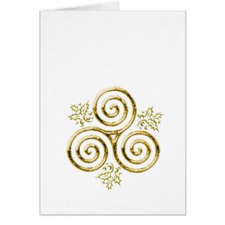 Tarjeta Hojas triples de oro del espiral y del acebo en