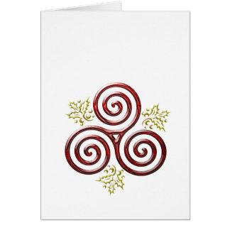 Tarjeta Hojas triples rojas del espiral y del acebo en