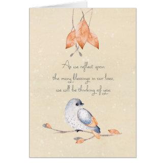 Tarjeta Hojas y pájaro de otoño de las bendiciones de la