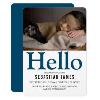 Tarjeta Hola nuevos azules cielos personalizados