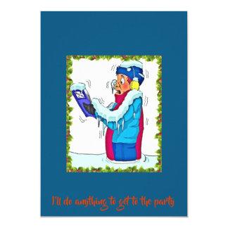 Tarjeta Hombre de congelación divertido en azul de la