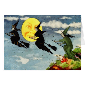 Tarjeta Hombre de la escoba del vuelo de la bruja en el
