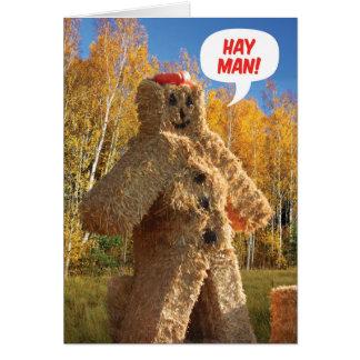 Tarjeta Hombre del heno, cumpleaños de la caída del feliz