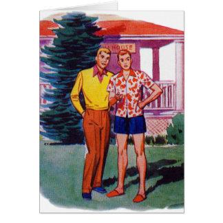 Tarjeta Hombres gay retros 50s Bob y Rob del vintage