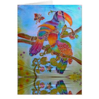 Tarjeta Hornbills del batik en el arco iris pintado a mano