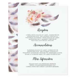 Tarjeta Huésped floral de la información del boda de Boho