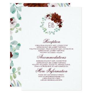 Tarjeta Huésped floral de la información del boda de la