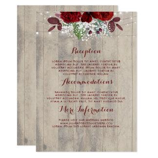 Tarjeta Huésped floral rústica de la información del boda