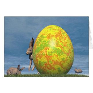 Tarjeta Huevo y liebres de Pascua - 3D rinden