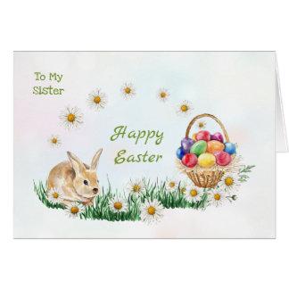 Tarjeta Huevos de Pascua coloridos, conejito, hermana de