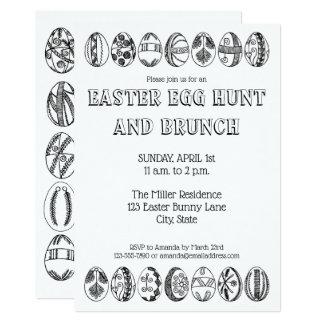 Tarjeta Huevos de Pascua dibujados mano que colorean la