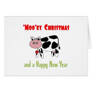 Tarjeta 'Humor de la vaca de la Feliz Año Nuevo del