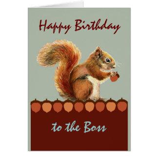 Tarjeta Humor del cumpleaños de Boss de nosotros nueces,