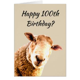 Tarjeta Humor divertido del animal de las ovejas del 100o