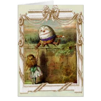 Tarjeta Humpty Dumpty y Alicia