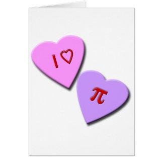 Tarjeta I corazones del caramelo del corazón pi
