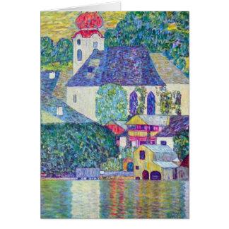 Tarjeta Iglesia del St. Wolfgang de Gustavo Klimt, arte