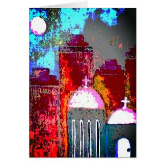 Tarjeta Iglesia rosada de la ciudad