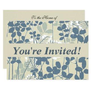 Tarjeta Impresión azul floral de las flores del arte
