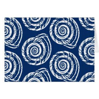 Tarjeta Impresión de bloque del Seashell, azul de cobalto