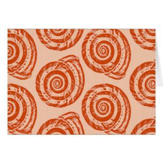 Tarjeta Impresión de bloque espiral del Seashell, naranja
