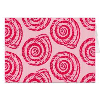 Tarjeta Impresión de bloque espiral del Seashell, rosado