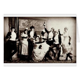 Tarjeta Impresión del vintage de las chicas marchosas