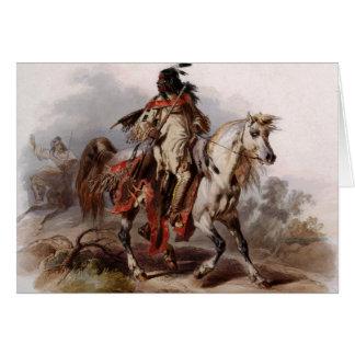 Tarjeta Indio Blackfoot en el caballo árabe que es