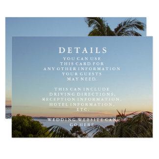 Tarjeta Información azul del boda de playa de las ondas y