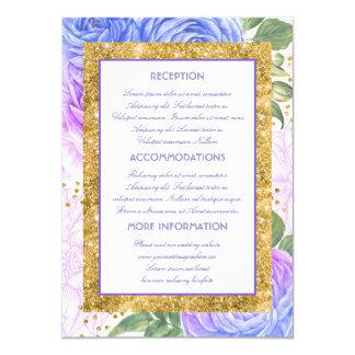 Tarjeta Información azul y púrpura del boda del brillo del