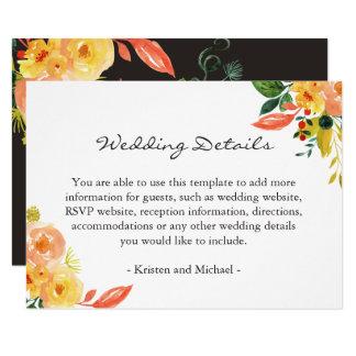 Tarjeta Información de detalles floral del boda del otoño