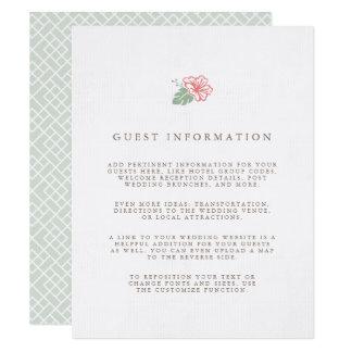 Tarjeta Información de la huésped del boda del hibisco de