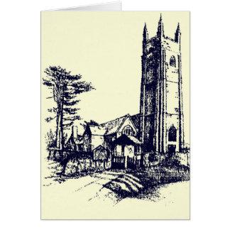 Tarjeta inglesa vieja retra de la iglesia