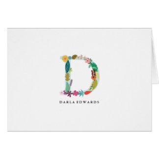 Tarjeta Inicial floral del monograma de la letra - D -