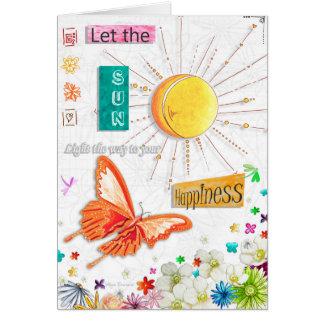 Tarjeta inspirada de la mariposa de la felicidad